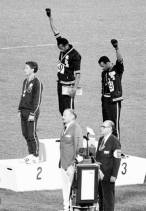 Tommie Smith and John Carlos raise the Black Power Salute